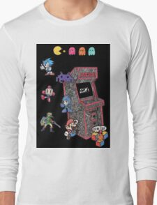 Arcade Game Booth /w background Long Sleeve T-Shirt