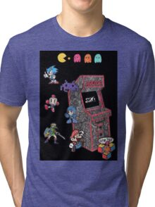 Arcade Game Booth /w background Tri-blend T-Shirt