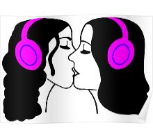 Girls Kissing Wearing Headphones Poster