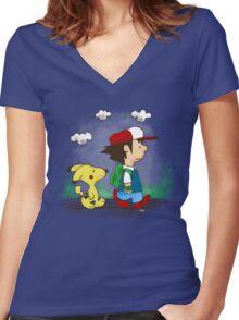 Pokemon Peanuts Women's Fitted V-Neck T-Shirt