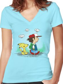 Pokemon Peanuts Women's Fitted V-Neck T-Shirt