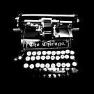 vintage typewriter on dark t-shirt by parko
