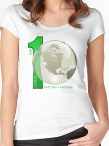 Only 1 Earth - Earth Day, Everyday Women's Fitted Scoop T-Shirt