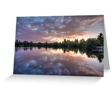 Purple on Green Lake Greeting Card