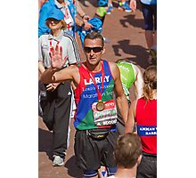 Paul Grayson with his London Marathon medal Photographic Print