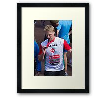 Lewis Moody with his London Marathon medal Framed Print