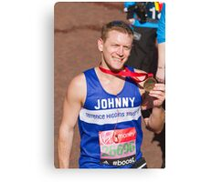 Johnny Shaw with his London Marathon medal Canvas Print