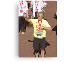 Ray Macallan with his London Marathon medal Canvas Print