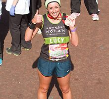 Lucy Siegle with her London Marathon medal by Keith Larby