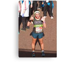 Lucy Siegle with her London Marathon medal Canvas Print