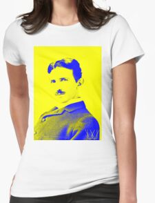 Nikola Tesla [Yellow Blue] | Wighte.com Womens Fitted T-Shirt