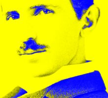 Nikola Tesla [Yellow Blue] | Wighte.com Sticker