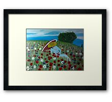 A woman on the flower field Framed Print