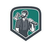Lumberjack Holding Axe Shield Retro by patrimonio