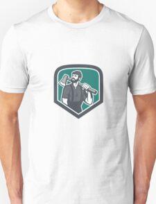 Lumberjack Holding Axe Shield Retro Unisex T-Shirt