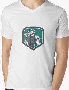 Lumberjack Holding Axe Shield Retro Mens V-Neck T-Shirt