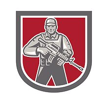 Soldier Serviceman With Assault Rifle Shield by patrimonio