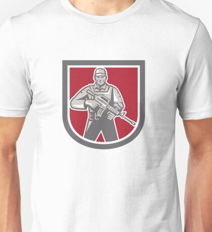 Soldier Serviceman With Assault Rifle Shield Unisex T-Shirt