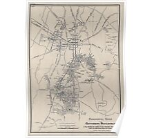 Civil War Maps 1172 Monumental guide to the Gettysburg battlefield A map showing the location of every monument marker and tablet with approaching roads and avenues Poster
