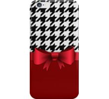 Black White Houndstooth Pattern Red Bow iPhone Case/Skin