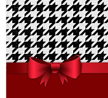 Black White Houndstooth Pattern Red Bow by cikedo