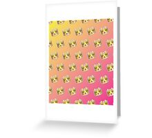 Crown Emoji Pattern Pink and Yellow Greeting Card