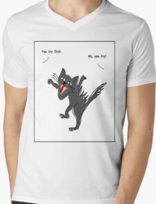 Angry Cat: You try again T-shirt Mens V-Neck T-Shirt