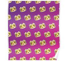 Crown Emoji Pattern Pink and Purple Poster