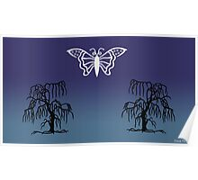 Butterfly & Tree Silhouettes At Night Poster