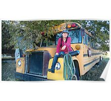 Ginny on Old School Bus Poster
