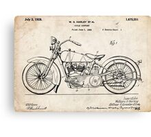 Harley Davidson Motorcycle US Patent Art 1928 Canvas Print
