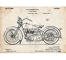 Harley Davidson Motorcycle US Patent Art 1928 Photographic Print