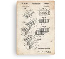 Lego Toy Blocks US Patent Art Canvas Print