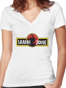 Safari zone pokemon jurassic park Women's Fitted V-Neck T-Shirt