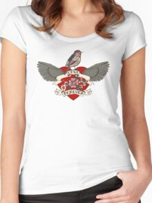 Old-school style tattoo heart with flowers and bird Women's Fitted Scoop T-Shirt