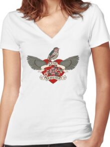 Old-school style tattoo heart with flowers and bird Women's Fitted V-Neck T-Shirt