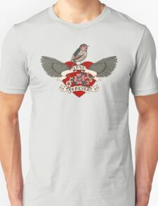 Old-school style tattoo heart with flowers and bird Unisex T-Shirt