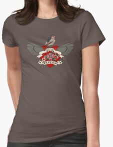 Old-school style tattoo heart with flowers and bird Womens Fitted T-Shirt