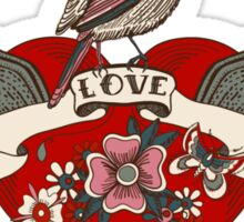 Old-school style tattoo heart with flowers and bird Sticker