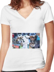 Cam Newton Dab Women's Fitted V-Neck T-Shirt