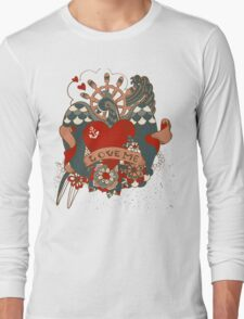 Old-school style tattoo background with swallow Long Sleeve T-Shirt