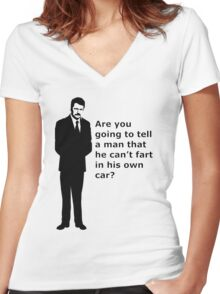 """""""swanson - quote"""" Women's Fitted V-Neck T-Shirt"""
