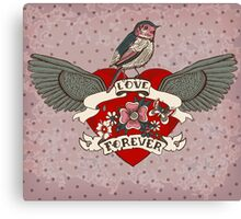 Old-school style tattoo heart with flowers and bird Canvas Print