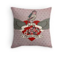 Old-school style tattoo heart with flowers and bird Throw Pillow