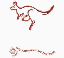 Wild Kangaroos are the best! curvy text Kids Tee