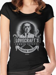 Lovecraft's Canned Octopus -Light- Women's Fitted Scoop T-Shirt