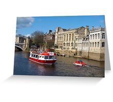 York Guildhall with river boat Greeting Card