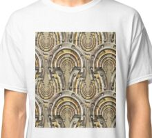 Abstract watercolor industrial seamless pattern. Steampunk style. Golden and silver metal arches Classic T-Shirt