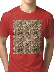 Abstract watercolor industrial seamless pattern. Steampunk style. Golden and silver metal arches Tri-blend T-Shirt