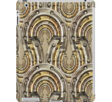 Abstract watercolor industrial seamless pattern. Steampunk style. Golden and silver metal arches iPad Case/Skin